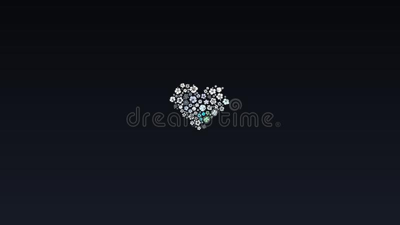 Abstract design, Black Background, texture of White Multiple flowers, shape of Heart stock illustration