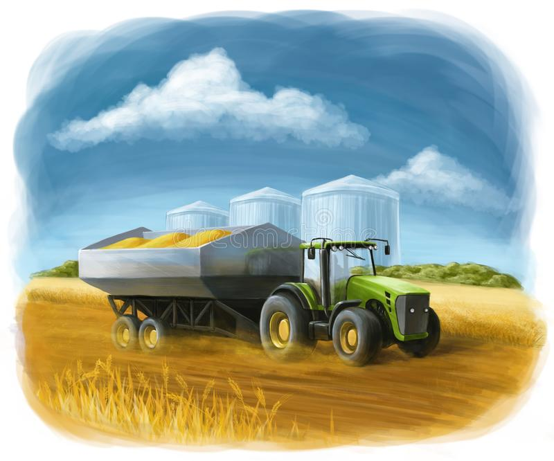 Tractor on the field carries wheat. A beautiful illustration for those who work with the theme of agro-industry. In the illustration, the tractor carries grain vector illustration