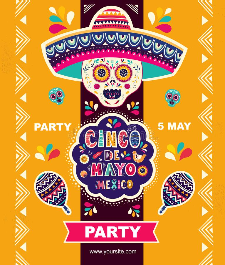 Free Beautiful Illustration With Design For Mexican Holiday 5 May Cinco De Mayo Royalty Free Stock Images - 112272219