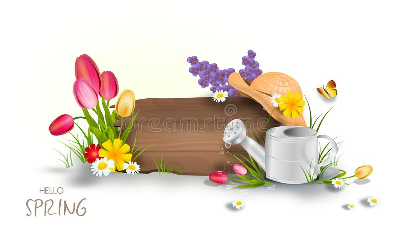 Illustration of spring board. Beautiful illustration of wooden board decorated with spring flowers vector illustration