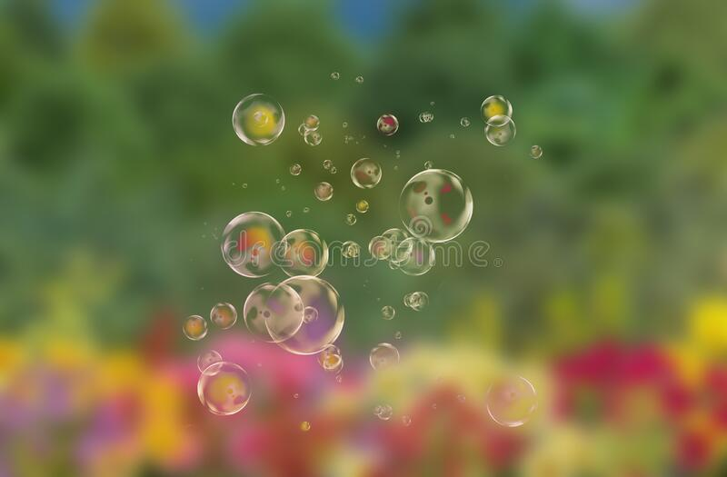 Bubbles with nature background stock photos