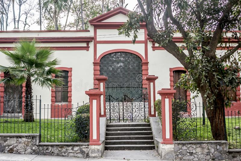 Beautiful image of the facade of a building in the Colomos Park. On a gray day in Guadalajara Jalisco Mexico stock photos