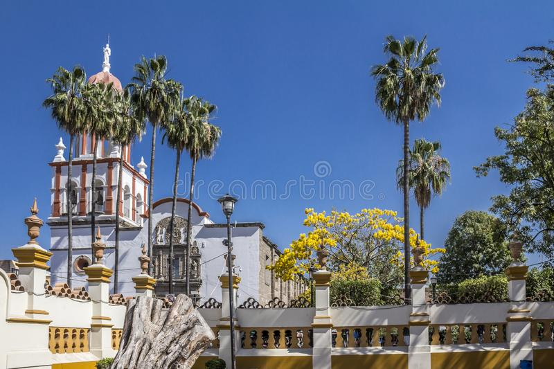 Beautiful image of the facade of the church of San Pedro Apósto. L in a wonderful and sunny day in Tlaquepaque Jalisco Mexico stock image