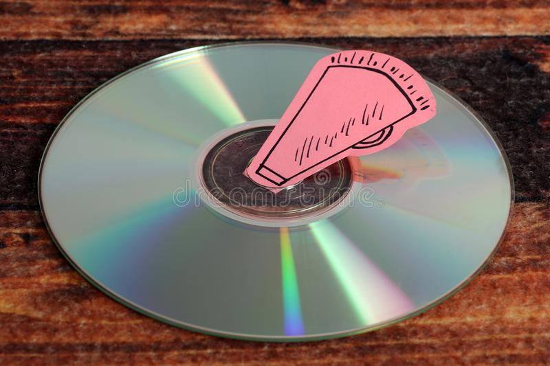 Music compact disc. Beautiful image of music compact disc on wooden background stock photo