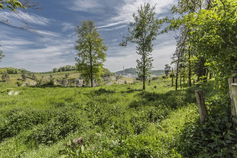 Beautiful image of nature in Sint-Pietersberg on a wonderful sunny day. With an amazing blue sky and white clouds in Maastricht South Limburg in the Netherlands royalty free stock photography