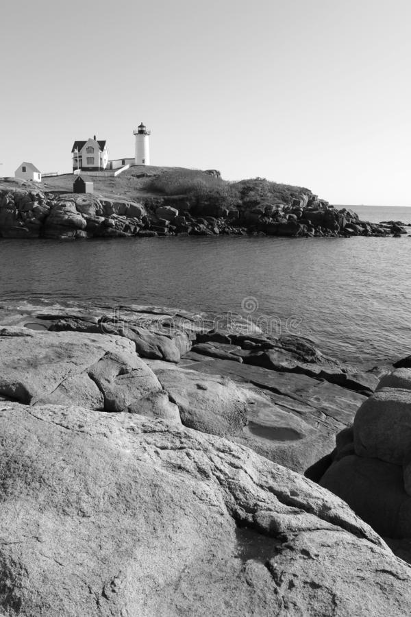 Tones of black and white in image of Maine`s beloved Nubble Lighthouse, York Maine, 2018. Beautiful image in one of Maine`s 60 lighthouses, this one much visited royalty free stock images