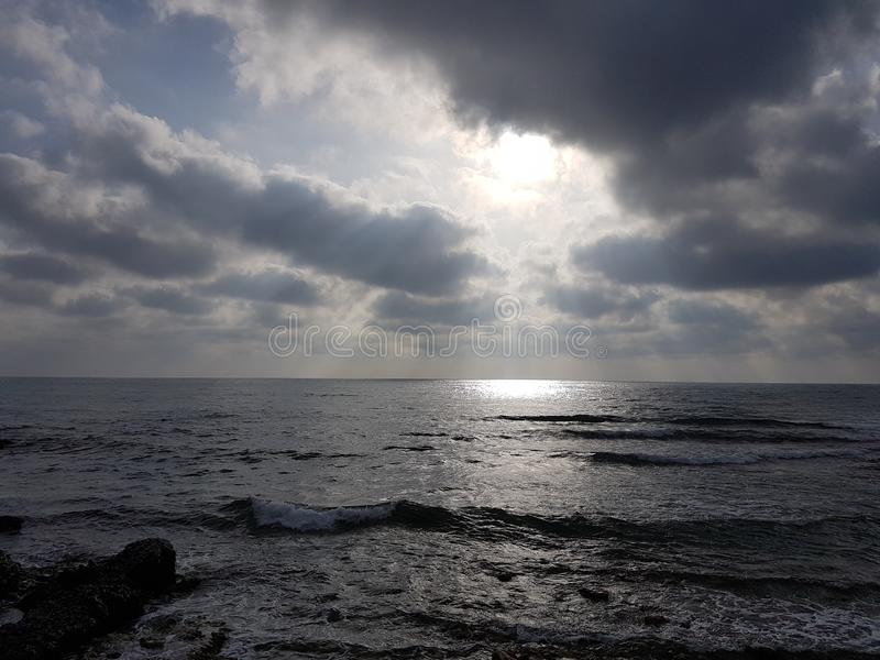 Beautiful image with the sea and the clouds. In the summer royalty free stock image