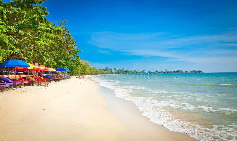 Beautiful Independence beach in Sihanoukville, Cambodia . Beautiful tropical Independence beach in Sihanoukville, Cambodia royalty free stock photography