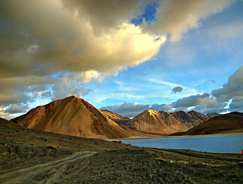Beautiful india leh. Pic was taken at pangong lake in laddakh in india...no editing required for such natural scene royalty free stock photos