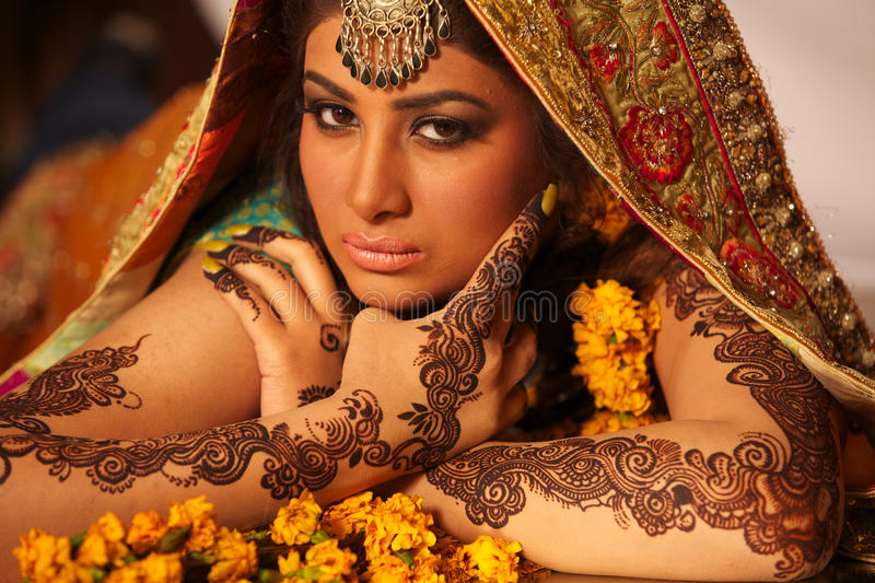 Download Beautiful indian bride stock photo. Image of girl, expression - 19408076