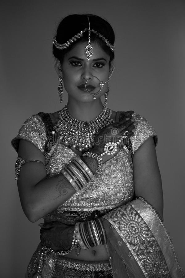 Classic Black and white shot of Indian Bride royalty free stock images