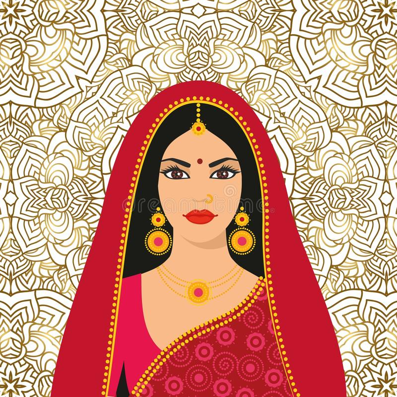 Beautiful Indian brunette young woman in colorful sari. Vector illustration Beautiful Indian brunette young woman in colorful sari stock illustration