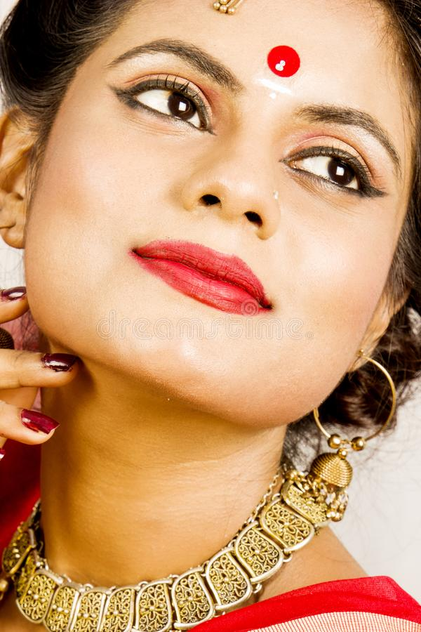 Beautiful indian female model in indian saree royalty free stock photos
