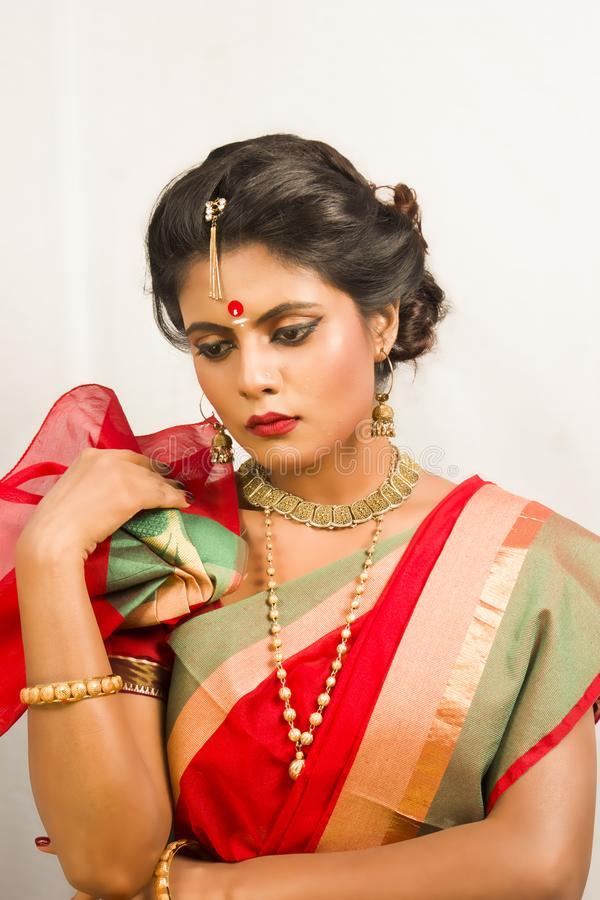 Beautiful indian female model in indian saree royalty free stock photography
