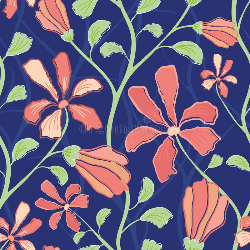 Beautiful indian floral design with coral flowers and green foliage. Seamless vector pattern on midnight blue background. Great stock images