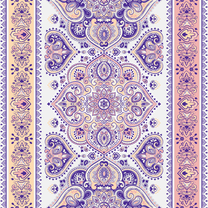 Beautiful Indian floral paisley seamless ornament print. Ethnic stock illustration