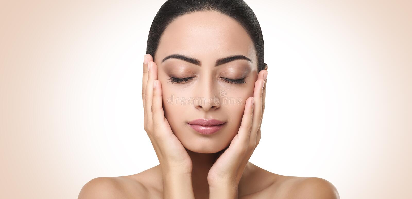 Beautiful indian girl perfect face with closed eyes stock images