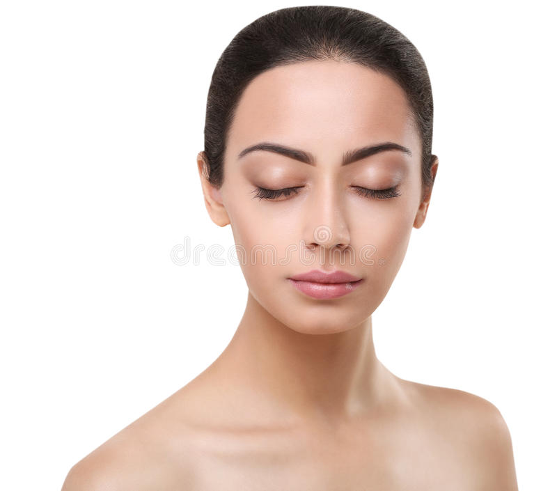 Beautiful indian girl perfect face with closed eyes stock photo