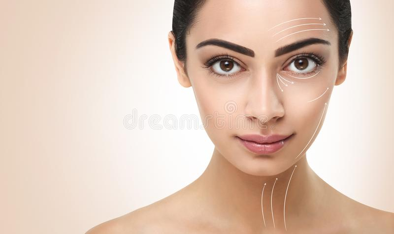Beautiful indian girl with perfect skin, clean face royalty free stock image