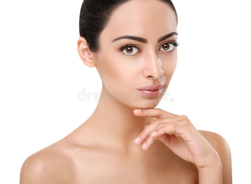 Beautiful indian girl with perfect skin, clean face stock images