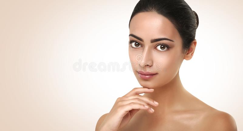 Beautiful indian girl with perfect skin, clean face stock photos