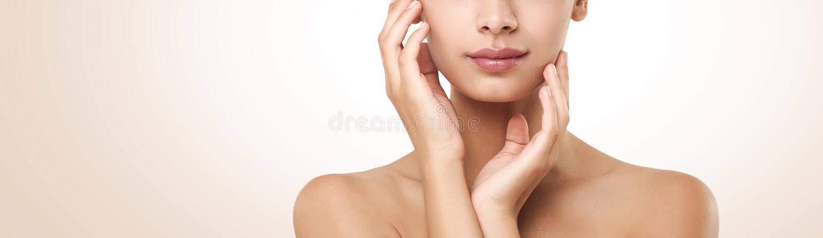 Beautiful indian girl with perfect skin touching face, crop stock image