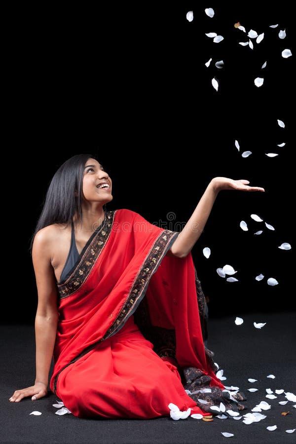 Free Beautiful Indian Girl With Rose Petals Stock Image - 14428461