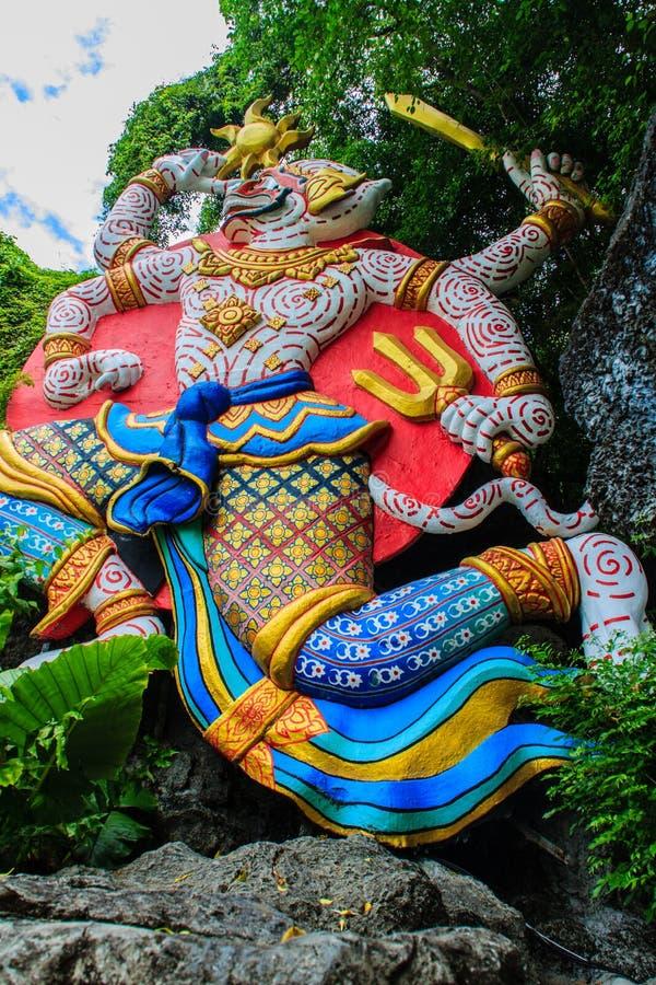 Beautiful Indian Lord Hanuman sculptures at the entrance of Phu royalty free stock photo