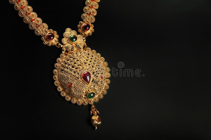 Indian Traditional Gold Necklace With Gemstones Stock Photo