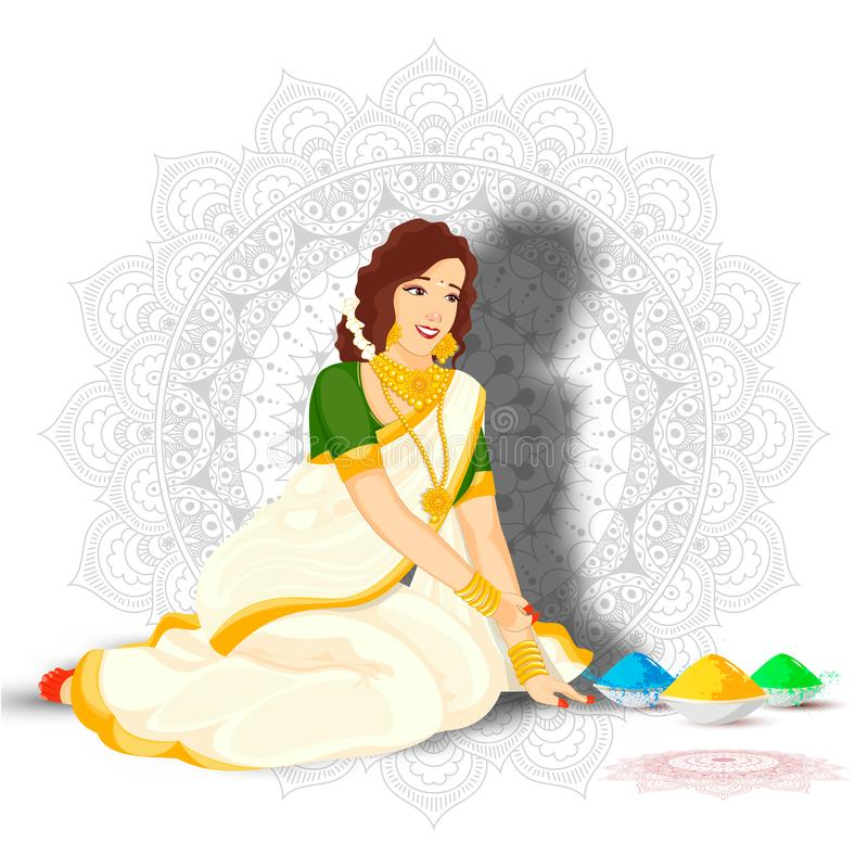 Beautiful Indian woman in sitting pose with color bowls on mandala pattern. Beautiful Indian woman in sitting pose with color bowls on mandala pattern royalty free illustration
