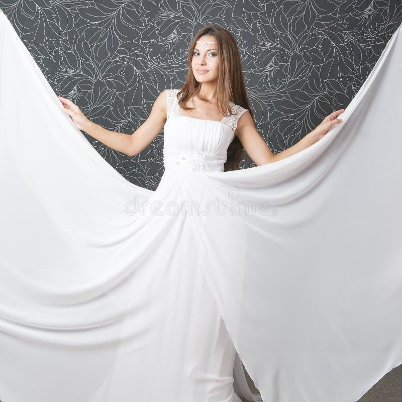 White Wedding Indian Dress: Beautiful Indian Woman In White Wedding Dress Stock Photo