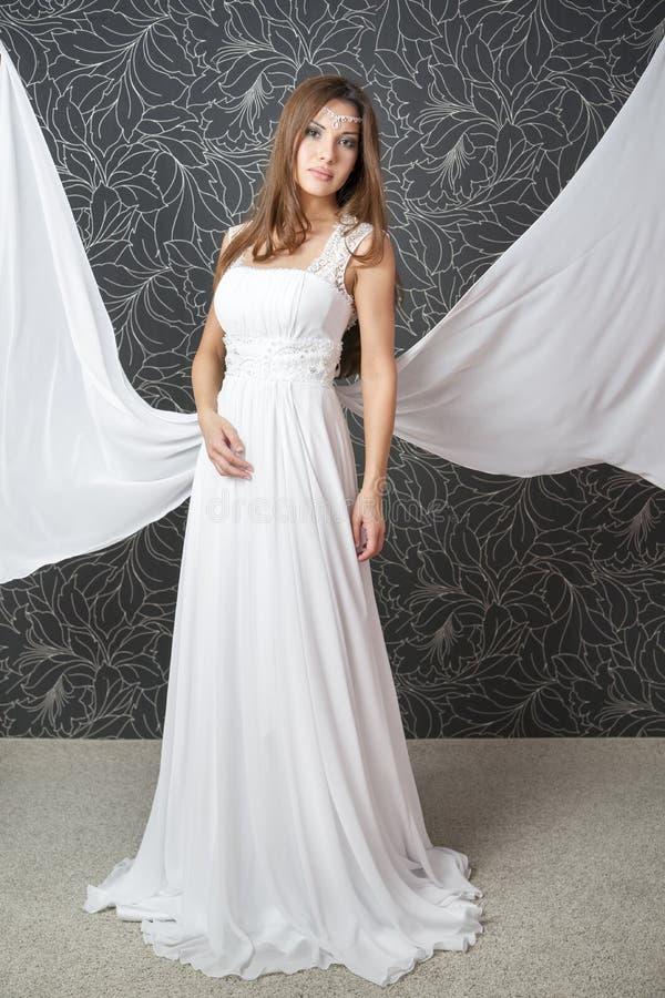 Beautiful Indian Woman In White Wedding Dress Stock Image - Image ...