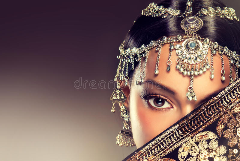 Beautiful Indian women portrait with jewelry. stock images
