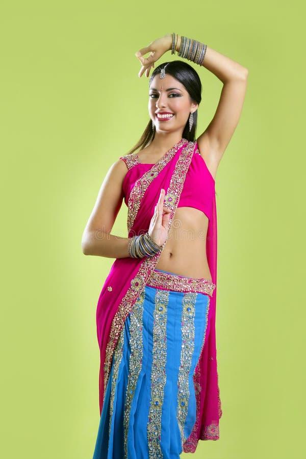 Beautiful Indian Young Brunette Woman Dancing Stock Photography