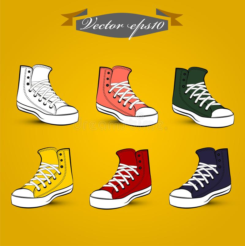 beautiful info graphic design vector of set of vintage shoes stock illustration