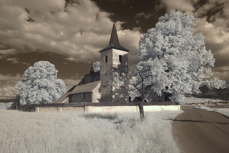 Beautiful infrared church Liptov region stock images