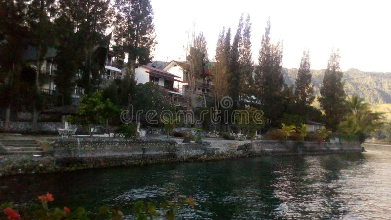 Beautiful inn view from LAKE TOBA royalty free stock images