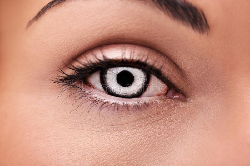 beautiful insightful look vampires woman`s eye stock photography