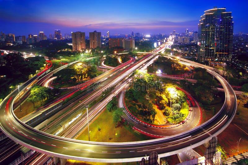 Beautiful interchange overpass in the nighttime stock photo