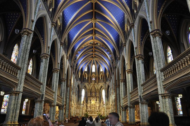 Notre - Dame Cathedral Basilica building interior from Downtown Ottawa in Canada stock photography
