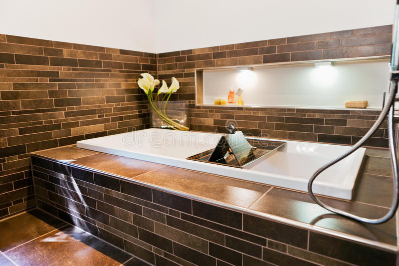 Beautiful interior of a modern bathroom royalty free stock photo