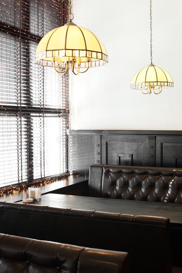 Beautiful interior of modern restaurant. Modern european restaurant with nice and bright interior stock image