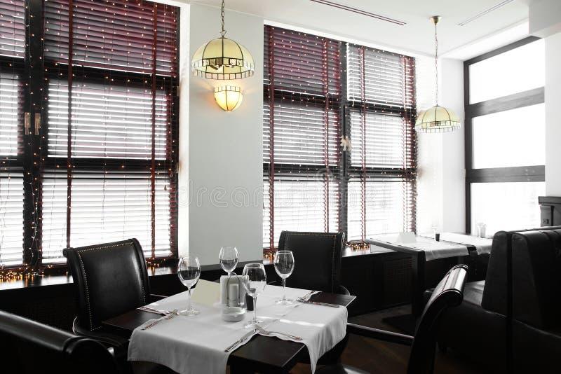 Beautiful interior of modern restaurant. Modern european restaurant with nice and bright interior stock photo