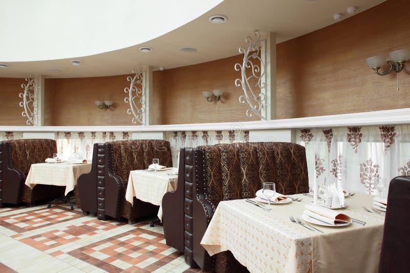 Beautiful interior of modern restaurant. Modern european restaurant with nice and bright interior stock photos