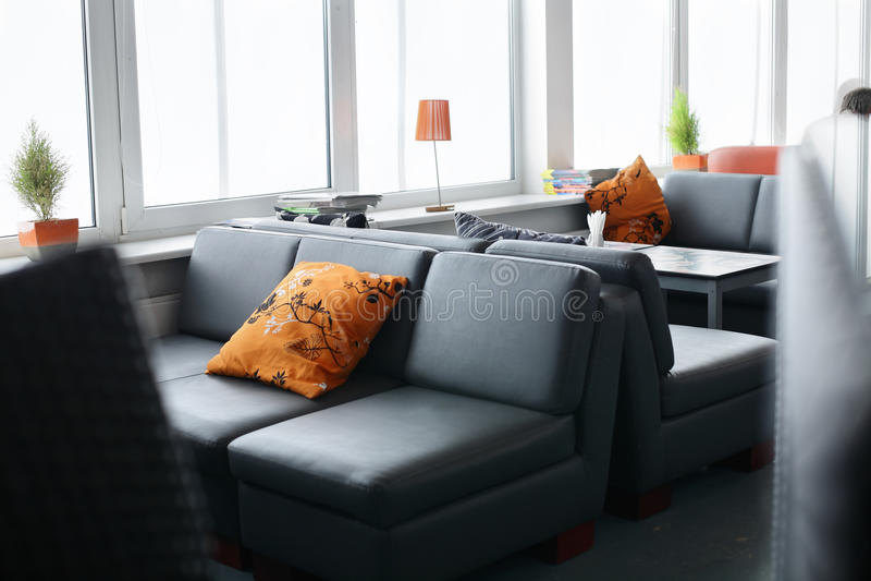 Beautiful interior of modern restaurant. Modern european restaurant with nice and bright interior royalty free stock photo