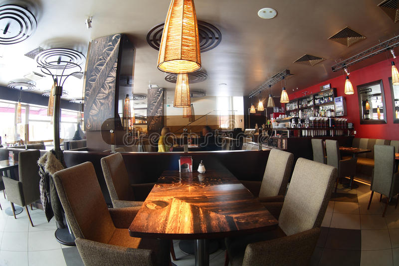 Beautiful interior of modern restaurant. Modern european restaurant with nice and bright interior royalty free stock image