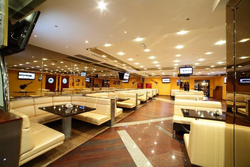 Beautiful interior of modern restaurant. Modern european restaurant with nice and bright interior stock photography