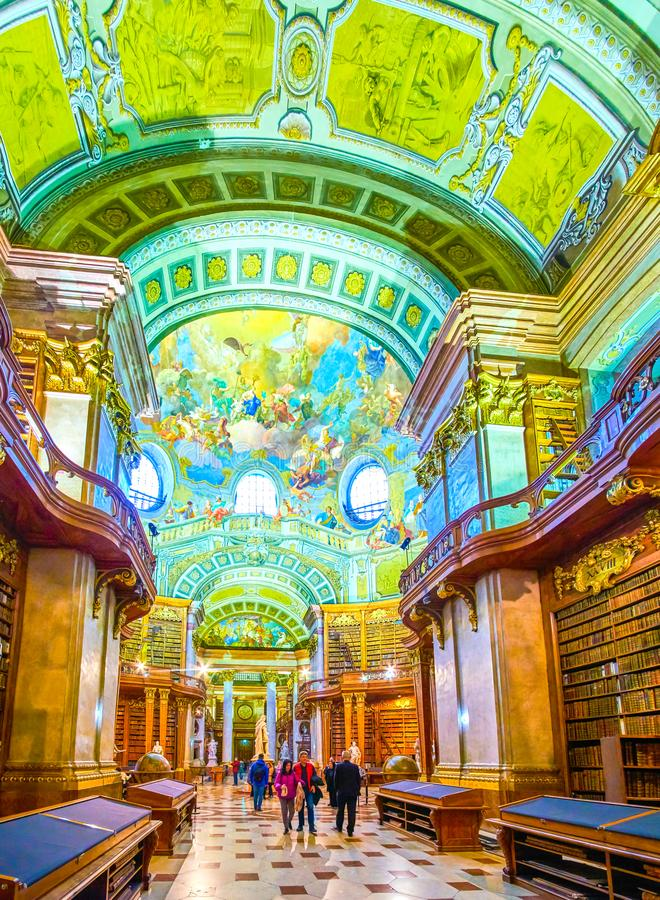 The beautiful interior of National Library in Vienna, Austria stock photography