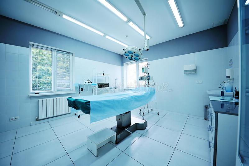 Beautiful interior of a surgical operating. Operating room in the surgical department of the polyclinic. Surgery royalty free stock photo