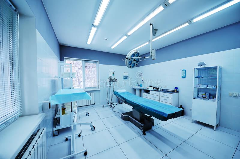 Beautiful interior of a surgical operating. Operating room in the surgical department of the polyclinic. Surgery stock images